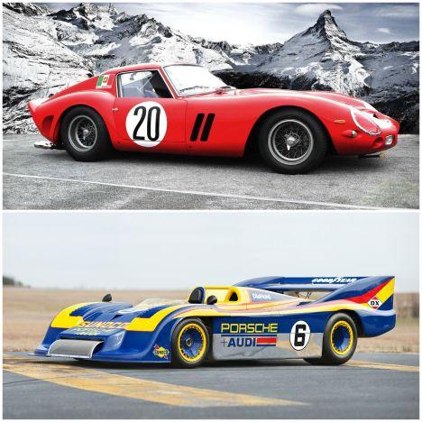 De haut en bas: Ferrari 250 GTO; Porsche 917/30 Can Am