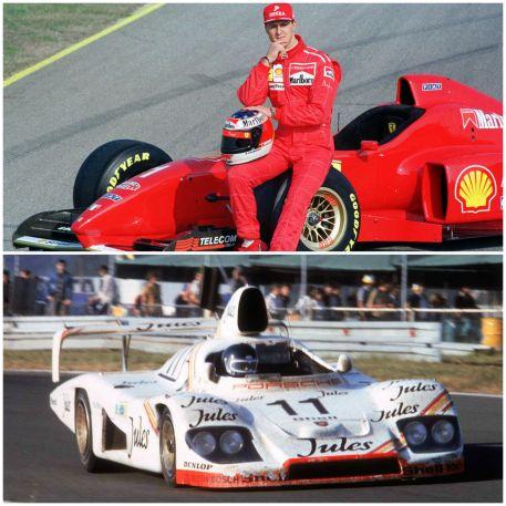De haut en bas: Michael Schumacher au coté de sa Formule 1 Ferrari; Derek Bell au volant d'une Porsche 936/81