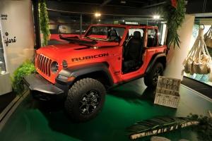 Exposition Jeep Around MotorVillage 2018 Wrangler Rubicon rouge jantes