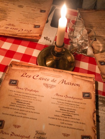 Les caves de Marson, Saumur, menu
