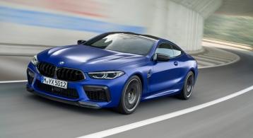 BMW M8 Competition coupé bleu calandre jantes