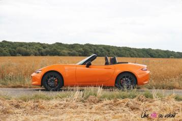 Mazda MX-5 30th Anniversary 2019 profil cabriolet orange racing jantes forgées essence