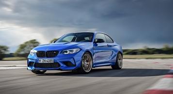 BMW M2 CS 2019 dynamique avant six cylindres feux calandre bleu Misano